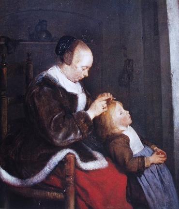 Gerard ter Borch, De luizenjacht, c. 1652-1653