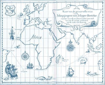 Kaart van de gevaarvolle reize van de scheepsjongens van Schipper Bontekoe